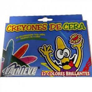 CREYONES DE CERA LA NIEVE 12 COL